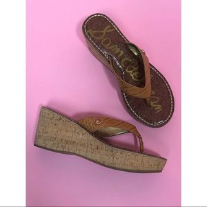 Sam Edelman Romy camel wedge flip flop sandal 7